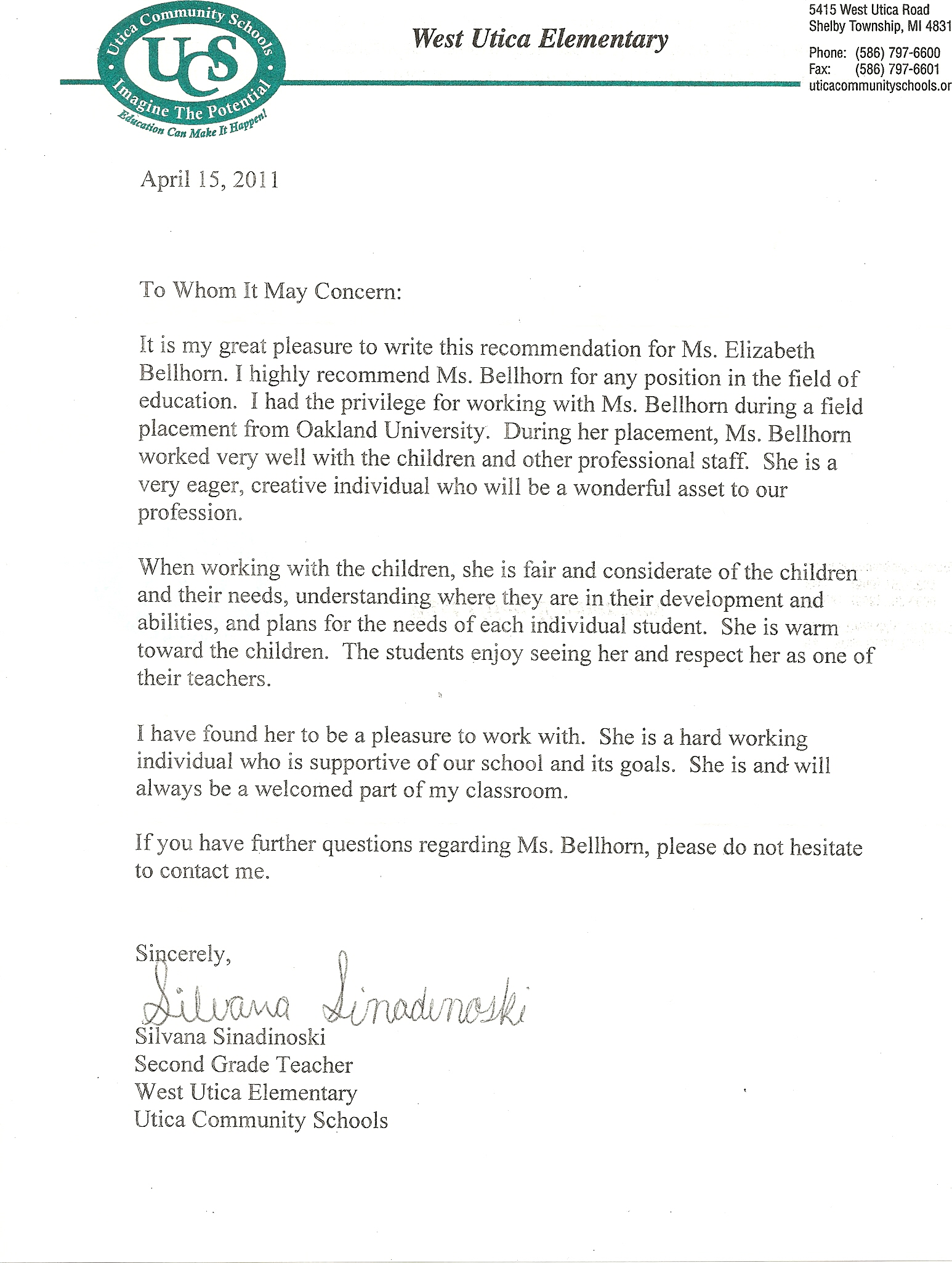 Letter Of Recommendation For Elementary Student Teacher From